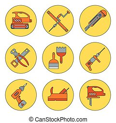 Line working color tools for construction, building and home repair icons set. Vector illustration. Equipment. Elements for design. Industrial style. Hand work tools collection. Cartoon style. Work.