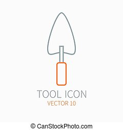 Line working color trowel for construction, building and home repair icon. Vector illustration. Element for design. Hand work tool. Industrial cartoon style. Simple. Pictogram. Service. Equipment.