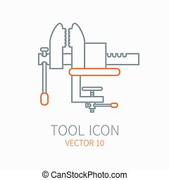 Line working color vise for construction building and home repair icon. Vector illustration. Element for design. Hand work tool. Industrial cartoon style. Simple. Pictogram. Service. Equipment.