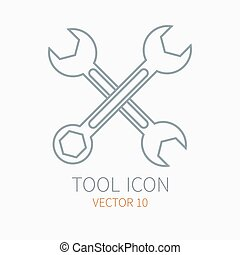 Line working color wrench for construction, building and home repair icon. Vector illustration. Element for design. Hand work tool. Industrial cartoon style. Simple. Pictogram. Service. Equipment.