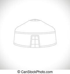 Line yurt. Vector Illustration. - vector graphics, modern ...