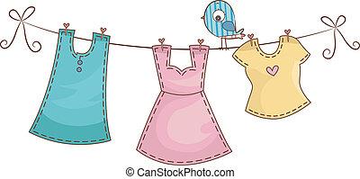 linea, abbigliamento, femmina, vestiti
