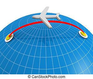 linea aerea, viaggiare, e, vacanza, concetto