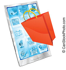 linea, app, concetto, shopping