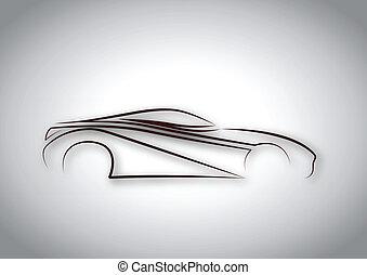 linea, auto, logotipo
