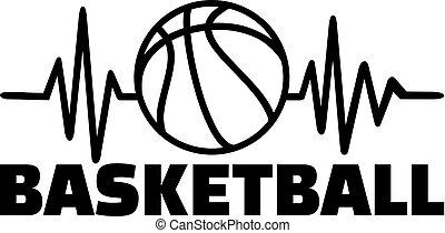 linea, battito cardiaco, pallacanestro
