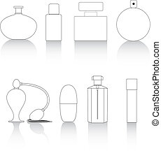 linea, bottiglie, chiave, profumo