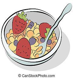 linea, ciotola, disegno, cereale