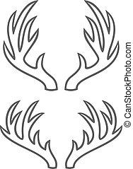 linea, corna, cervo, magro, icone