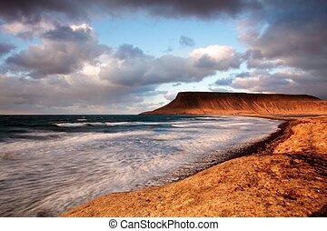 linea costiera, a, tramonto, esposizione lunga