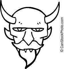linea, diavolo, disegno, cartone animato, faccia