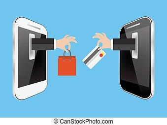linea, e-commercio, shopping, o, concetto