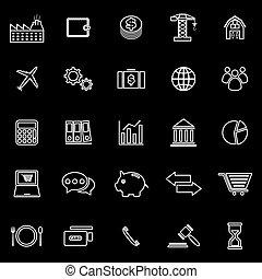 linea, economia, sfondo nero, icone