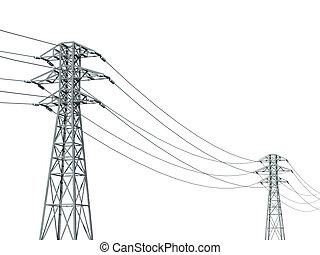 linea elettrica, su, uno, sfondo bianco