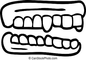 linea, falso, disegno, cartone animato, denti