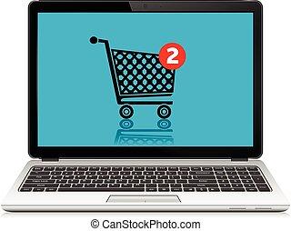 linea fare spese, concept., laptop, con, shopping, cart.