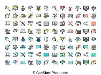 linea fissa, colorito, collezione, icone