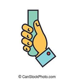 linea fissa, lineare, concept., editable, isolato, illustrazione, mano, vettore, stroke., fondo, presa a terra, bianco, icon.