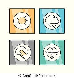 linea fissa, set, icona, tempo