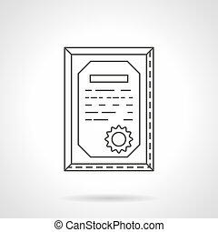 linea fissa, vettore, certificato, icona