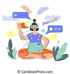 linea, flusso continuo, concetto, podcast, blogger., vivere, donna