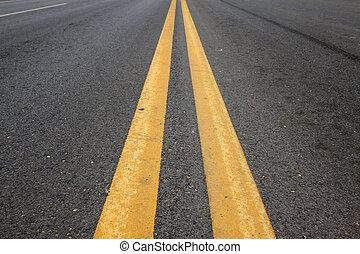linea, giallo, solido, doppio