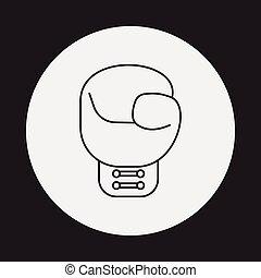 linea, guantoni da box, icona