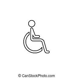 linea, handicappato, invalido, icona