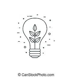 linea, icona, bulbo, luce, dentro, pianta, arte