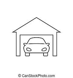 linea, icona, fondo, automobile, garage, bianco
