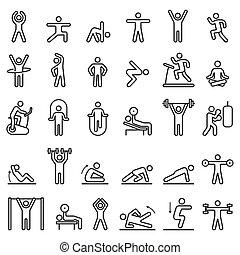 linea, illustrations., idoneità, allenamento, set., esercizio, icone, vettore