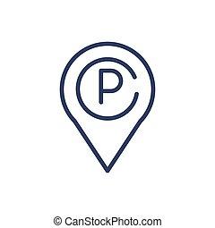 linea, magro, lotto, parcheggio, puntatore, icona