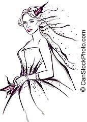 linea, moda, arte, illustrazione