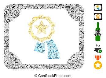 linea, mosaico, icona, valido, diploma