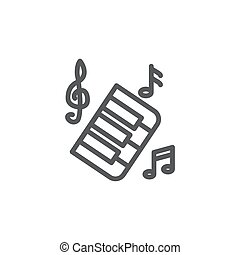 linea, musica, sfondo bianco, icona
