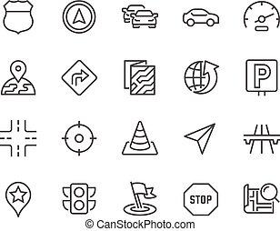 linea, navigazione, icone