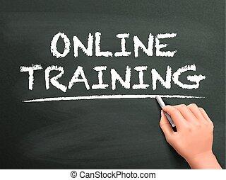 linea, parole, mano, addestramento, scritto