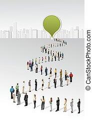linea, persone, standing, affari