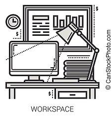 linea, posto lavoro, icons.