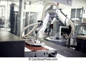 linea produzione, industriale, fabbrica, cioccolato