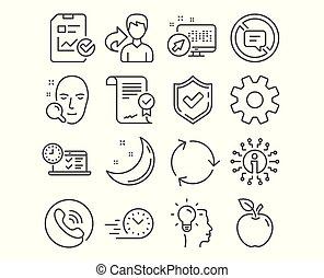 linea, prova, approvato, accordo, e, servizio, icons., riciclaggio, consegna veloce, e, fermata, parlare, signs., vettore
