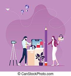 linea, riesaminazione, prodotto, unboxing, concetto, -video