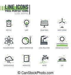 linea, riscaldamento globale, icone