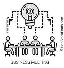 linea, riunione, affari, icons.