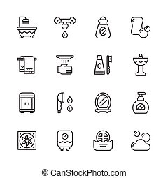 linea, set, bagno, icone
