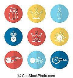 linea, set, bowling, icone