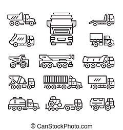 linea, set, camion, icone
