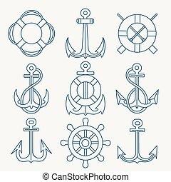 linea, set, emblema, magro, nautico