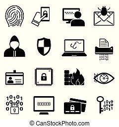 linea, sicurezza, cybersecurity, icona, set