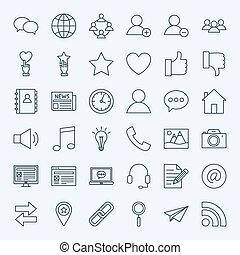 linea, sociale, media, icone